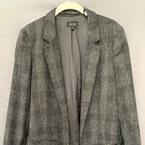 Topshop gray plaid blazer